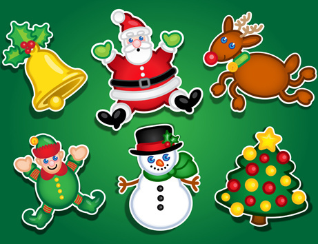 cute christmas stickers design vector graphics