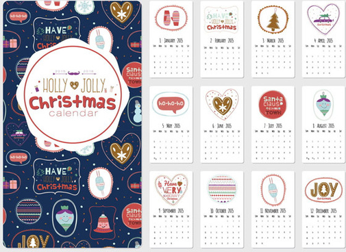 cute christmas style15 calendar vector