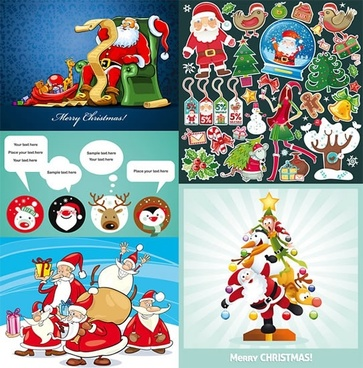 christmas background templates cute cartoon characters decor