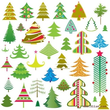 fir tree icons collection colorful classical flat sketch