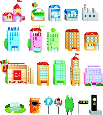 cute city houses creative vector
