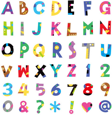 cute color numbers with alphabet and symbol vector