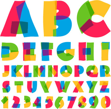cute colored alphabet and numbers vector