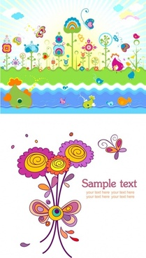 cute colorful flowers theme vector