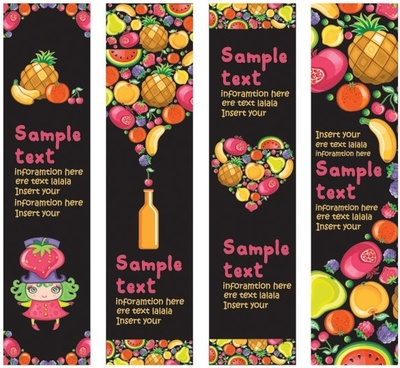 cute colorful fruits and banner vector