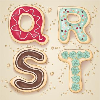 cute cookies alphabet vector