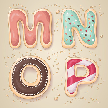 cute cookies with letters vector set