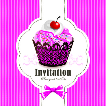 cute cupcakes invitations cards vector set