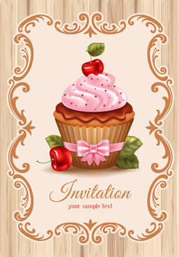 cute cupcakes vector invitation cards