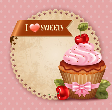 cute cupcakes vector invitation cards