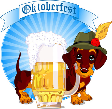 cute dog with beer labels vector