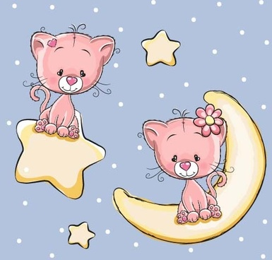 cute dog with stars and moon card vector