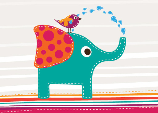 cute elephant and bird vector