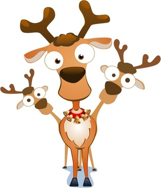 christmas reindeer icons cute funny cartoon sketch
