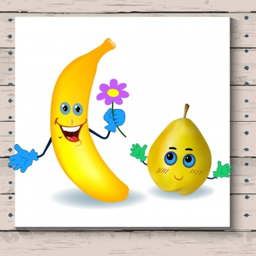 cute emoticon sets stylized yellow banana pear icons