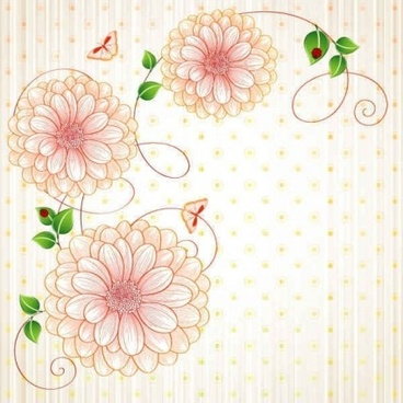 cute floral art background vector