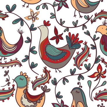 cute floral ornaments vector seamless pattern