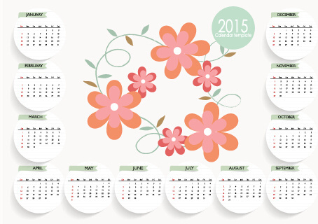 cute flower with15 card calendar vector