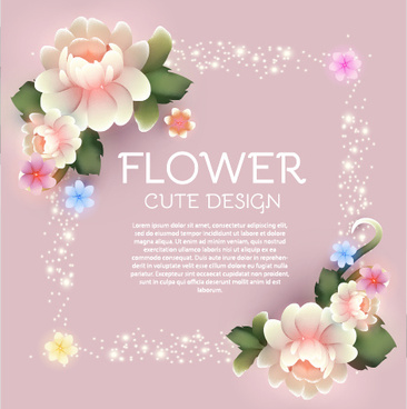 cute flower with pink background art vector