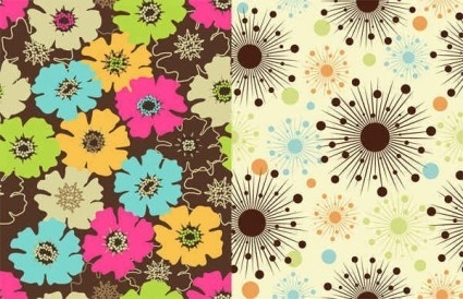 cute flowers vintage pattern vectors