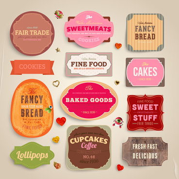 cute food labels design vector