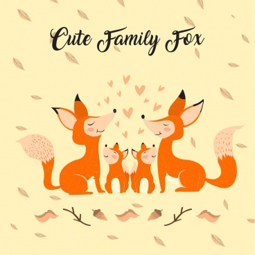 cute foxes family drawing colored cartoon design