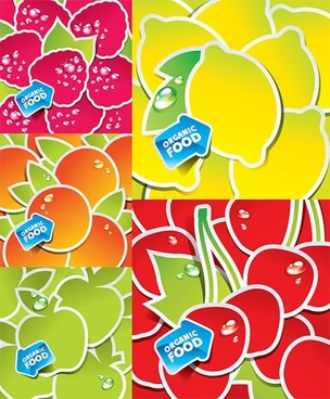 organic fruit background colored modern paper cut design