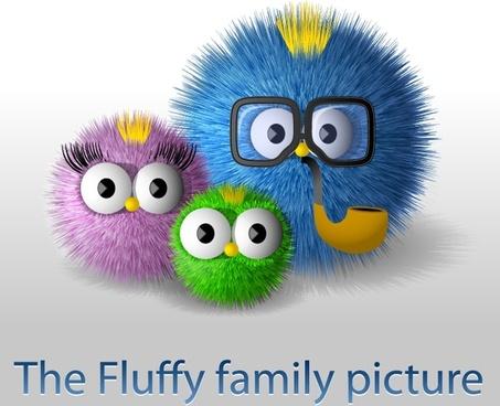 owl family background colorful modern fluffy balls design