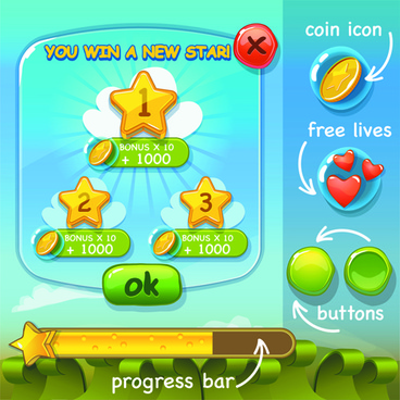 cute game button and other design elements