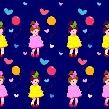 cute girl background colorful repeating cartoon design