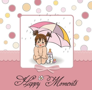 cute girl card 01 vector