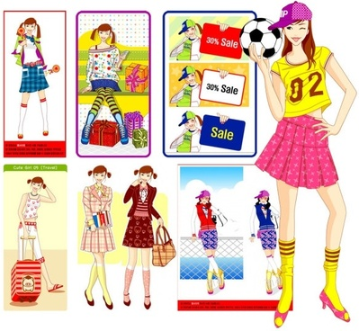 cute girl series vector girl 8p