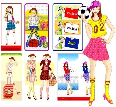 cute girl series vector girl 8p