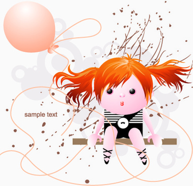cute girl with balloon and grunge background vector