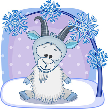 cute goat with snow christmas vector