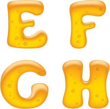 cute golden alphabet elements vector