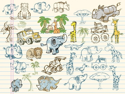 africa design elements animals vehicles sketch handdrawn design