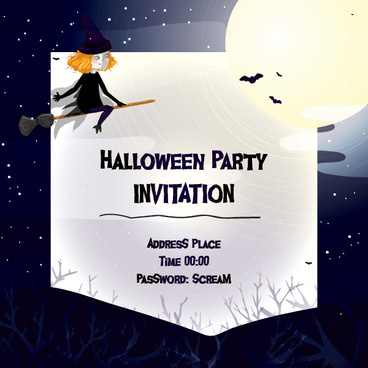 cute halloween invitation cards vector