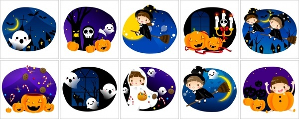 halloween design elements cute cartoon characters sketch