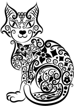 cute hand drawn cat decoration pattern vector