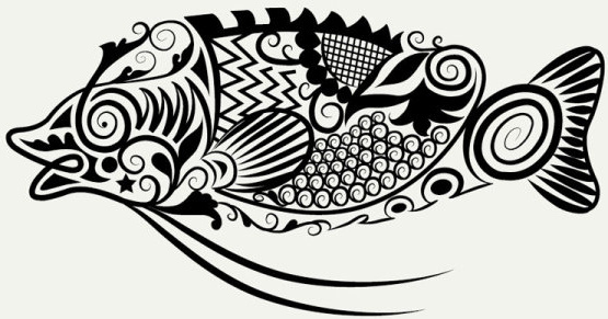 cute hand drawn fish decoration pattern vector