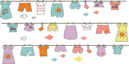 cute hand drawn hang the clothes vector background