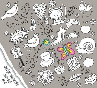 decorative design elements cute flat handdrawn sketch