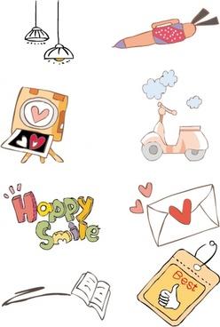 cute handdrawn illustrations vector