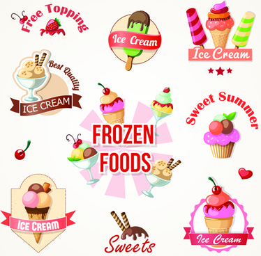 cute ice cream logos and labels vector