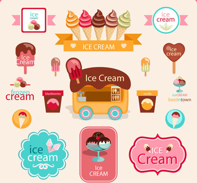 cute ice cream logos with label elements vector