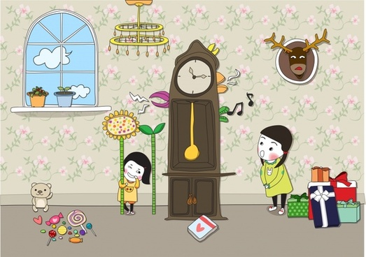 childhood painting playful sisters icons cute cartoon design
