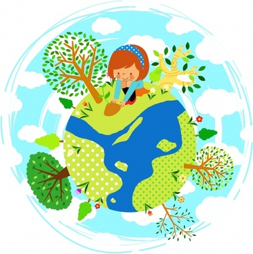 ecology background girl planting tree earth icons