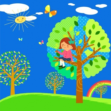 childhood painting playful girl trees icons cartoon design