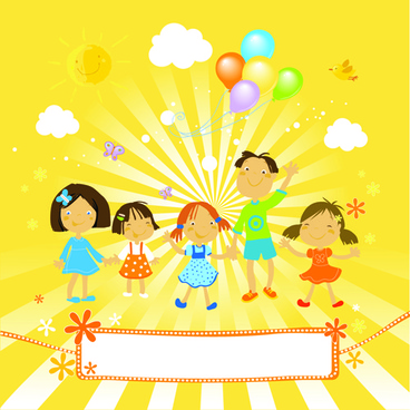 cute kids with balloon background vector